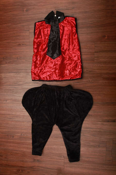 RED SEQUIN TOP AND BLACK PANT