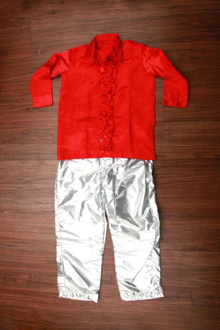 Red Shirt and Silver Pant