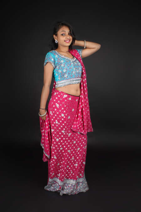 BLUE PINK CHANIYA CHOLI