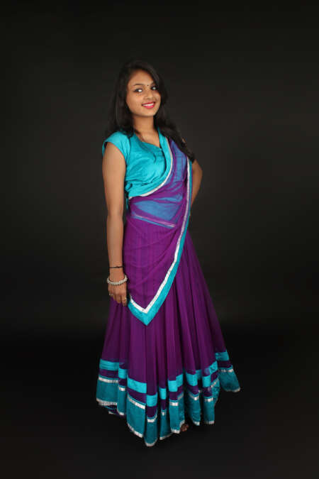 PURPLE BLUE GHAGRA CHOLI