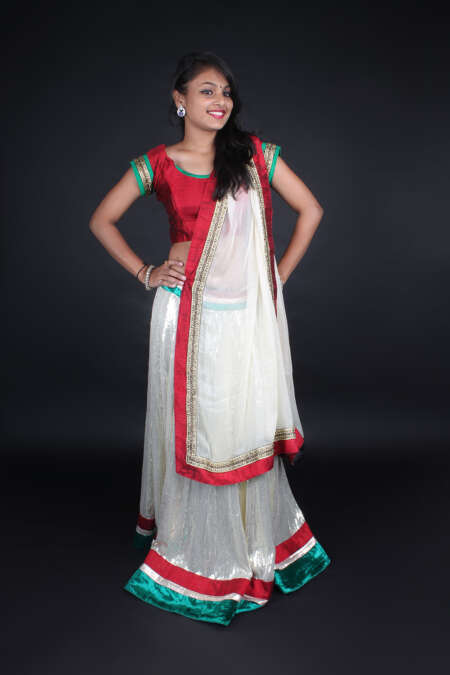 SHINY RED WHITE GHAGRA CHOLI