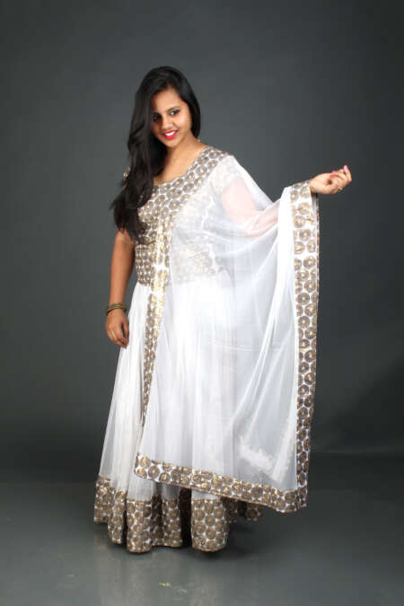 GOLDEN WHITE GHAGRA CHOLI