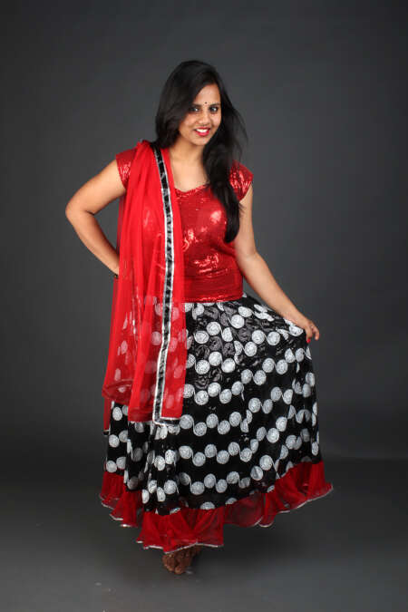 RED BLACK GHAGRA CHOLI
