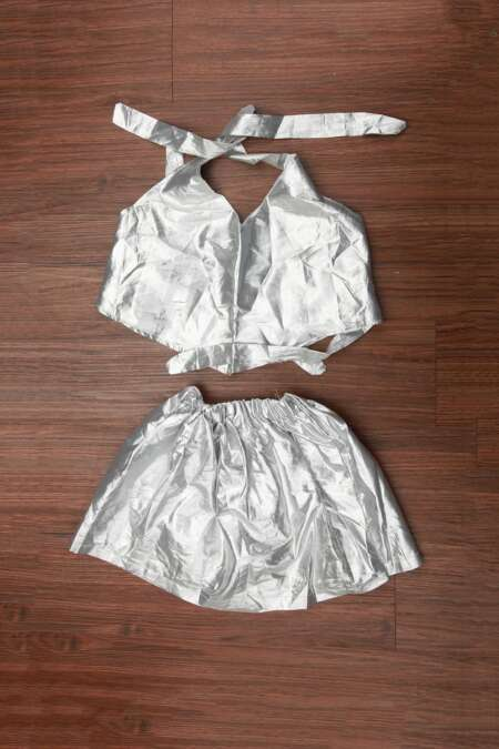 silver jacket and skirt by rentsake.cm