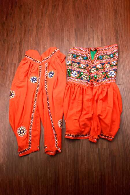 orange kediyu with kafni pyjama