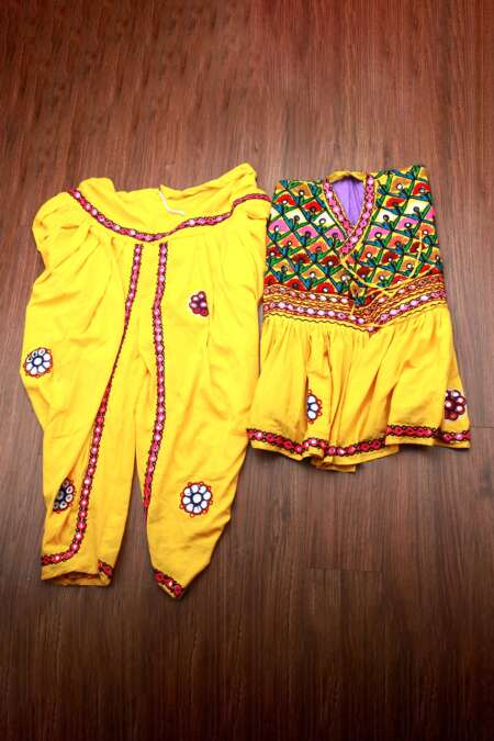Yellow kediyu with kafni pyjama