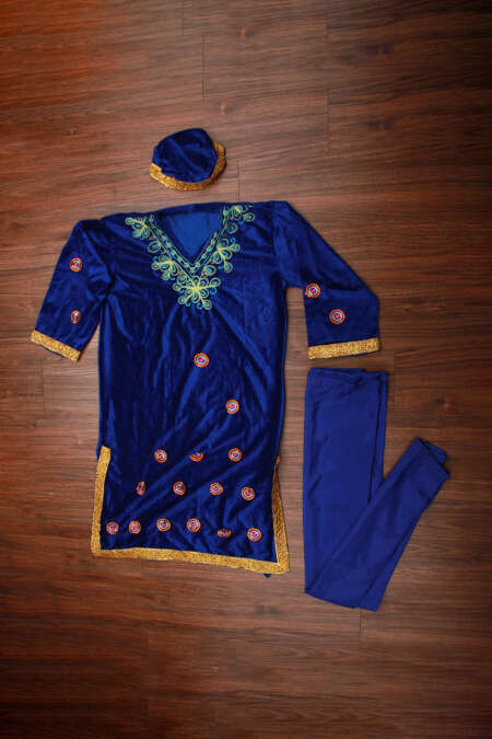 blue kashmiri dress
