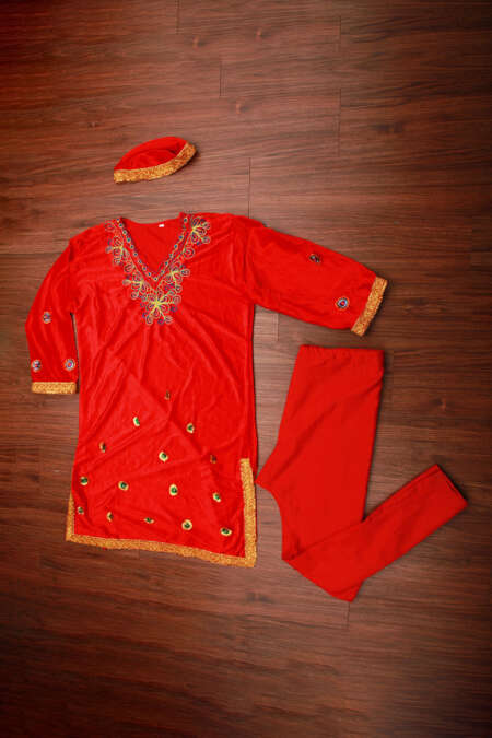 red kashmiri dress