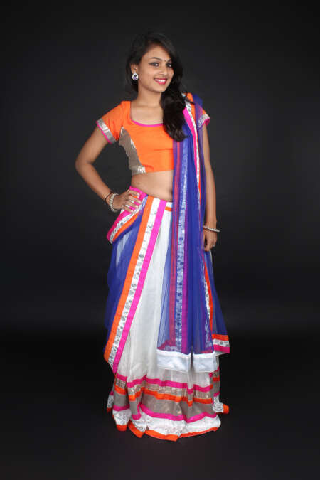 ORANGE WHITE GHAGRA CHOLI