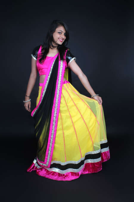 YELLOW PINK GHAGRA SAREE