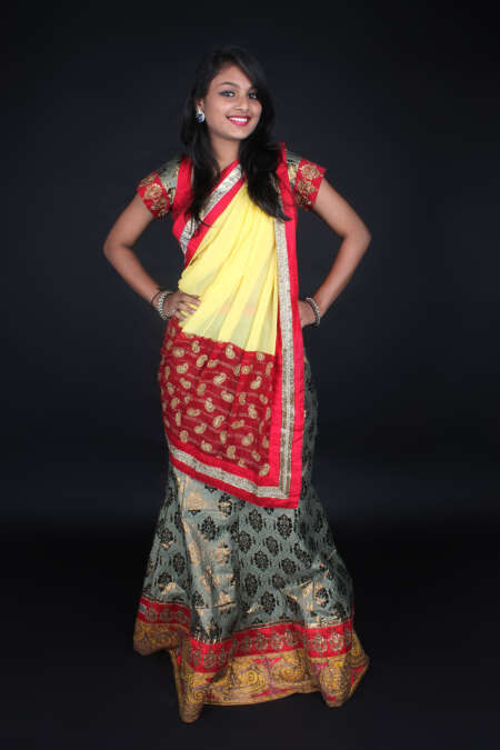 GREY RED GHAGRA CHOLI