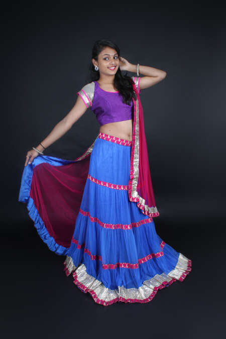 PURPLE BLUE LEHENGA CHOLI