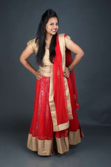 GOLDEN RED GHAGRA CHOLI