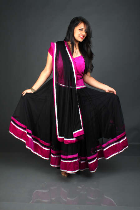 PURPLE BLACK GHAGRA CHOLI