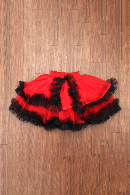 red frill skirt by rentsake.com